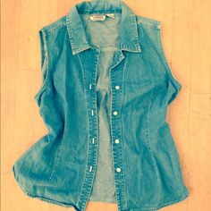Vintage boho denim jacket vest throw kimono Denim vest overthrow in like new condition. Size large, could fit a medium as well. Looks adorable with suede. Jackets & Coats Vests