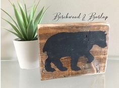 Woodland Bear Rustic Nursery, Party or Home Decor Small Wood Block 4 Home Decor Rustic Country, Rustic Decor, Farmhouse Decor, Rustic Nursery, Nursery Decor, Black Acrylic Paint, Rustic Contemporary, Custom Wood Signs, Etsy Crafts