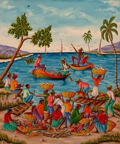 Fishwives - Paintings by Haitian Artist H.Y. Rouanez
