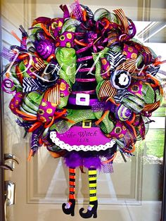 Hey, I found this really awesome Etsy listing at https://www.etsy.com/listing/162377472/sale-deluxe-witch-deco-mesh-wreath