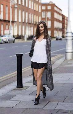 Street Style: Long Cardigan, Vest & Shorts