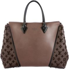 Pre-owned Louis Vuitton Monogram Velours W GM Tote ($4,000) ❤ liked on Polyvore featuring bags, handbags, tote bags, brown, brown tote, louis vuitton handbags, tote handbags, zippered tote bag and hand bags