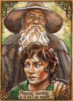 Frodo and Gandalf by Soni Alcorn-Hender (Bohemian Weasel) Hobbit Art, The Hobbit, High Fantasy, Fantasy Art, Lord Of Rings, Lotr Trilogy, Gandalf, Legolas, Concerning Hobbits