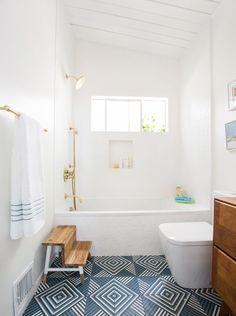 Tolson Shower & Tub set. Bathroom inspiration. Emily Henderson bathroom. Blue tile. White tile. Guest Bathroom inspiration. Blue and white bathroom. Bathroom hardware. Aged brass hardware. Watermark Brooklyn.