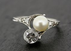 Art Deco Diamond Ring  Antique Pearl & Diamond di AlistirWoodTait, £2500.00