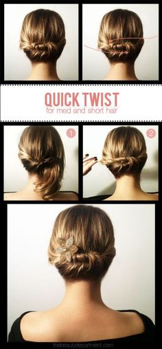 Quick Twist Updo for Short  Medium Hair by TBD - BeautyTipsnTricks.com