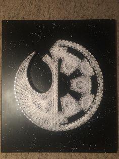 String Art. Star Wars rebel/empire logo. Black Spray painted background with stars. By Chris Brezic