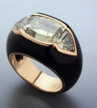 Ring by Suzanne Belperron- diamonds and black enamel
