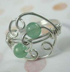 Sterling Silver and Aventurine Wire Wrapped Cloud Ring. $21.00, via Etsy.