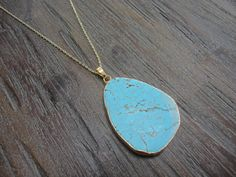 Turquoise Drop Pendant Gold Necklace by AprilSueDesigns on Etsy