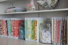 Lots of ideas on how to store fabric - drawers, boxes, hanging and more. Be inspired!