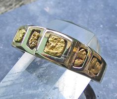 Gold Nugget Rings, Gold Nugget Ring, Mens Gold Nugget Ring, California Gold Nugget Ring, Natural Gold Nugget Ring, 14k Gold Mens Ring, Gift