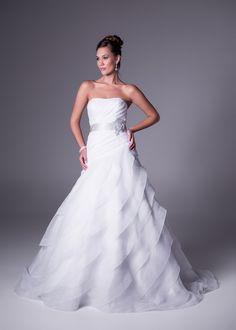 Organza, layered skirt drama gown wedding dress with belt detail by Oleg Cassini Layered Skirt, Style Icons, One Shoulder Wedding Dress, Wedding Gowns, Drama, Bridesmaid Dresses, Belt, Bridal, Detail