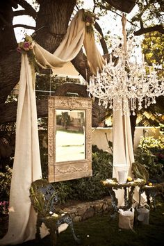 GORGEOUS use of fabric, mirror, and chandelier for an outdoor wedding decor Wedding Altars, Rustic Wedding, Wedding Ceremony, Our Wedding, Dream Wedding, Outdoor Ceremony, French Wedding, Wedding Tips, Elegant Wedding