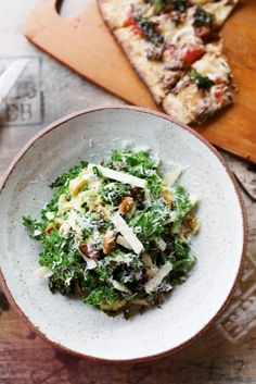 kale salad with curried Marcona almonds, green apple, shaved pecorino ...