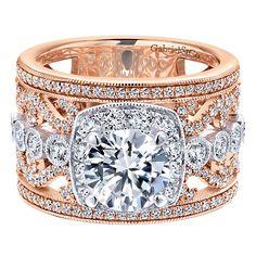 18k White/pink Gold Diamond Halo Engagement Ring