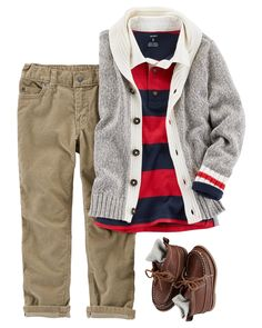 In a rugby polo and corduroy pants, he is too cool for school. Add a shawl collar cardigan and high-top boots to complete this preppy outfit. #Kidbootsboy