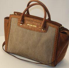 Michael Kors Large Selma Beige Hemp Canvas Pick Stitch Leather Satchel Bag