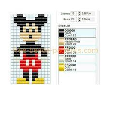 Disney character Mickey Mouse free perler beads pattern Hama beads Nabbi beads I. Bead Loom Designs, Weaving Designs, Bead Loom Patterns, Beading Patterns, Diy Friendship Bracelets Patterns, Beaded Bracelet Patterns, Jewelry Patterns, Beading Tools, Loom Beading