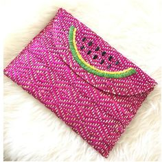 Watermelon Pink Raffia Envelope Clutch Pouch Some items come with/without tags but they came directly from manufacturers. See pics for some imperfections. HP @erika75 Ask ALL questions before buying, sales are final. I try to describe the items I sell as accurately as I can but if I missed something, please let me know FIRST so we can resolve it before you leave < 5🌟rating.   🚫TRADES/PP 🚫LOWBALLING (Please consider the 20% PM fee) ✅Offers only through the OFFER BUTTON  100% Authentic…