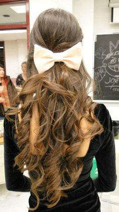 Long Beautiful Hair with Cream Colored Bow