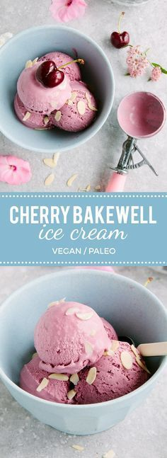 Cherry Bakewell Ice Cream (Vegan + Paleo)