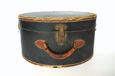 Vintage / Antique Black Leather Hat Box (circa.1920s), Travel Case - Collectible, Home Decor, Storage,  Repinned by www.silver-and-grey.com