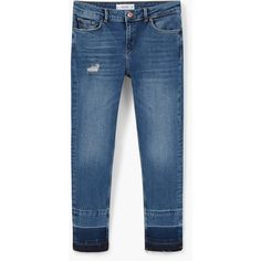 MANGO Skinny Crop Amy Jeans (715 ARS) ❤ liked on Polyvore featuring jeans, cropped skinny jeans, super skinny jeans, torn skinny jeans, blue jeans and embellish jeans