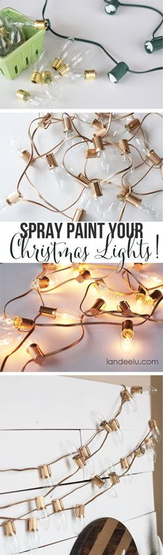 Spray paint Christmas lights styrofoam, scrapbook paper, and ribbon glued around edges. So cheap, easy, and cute!