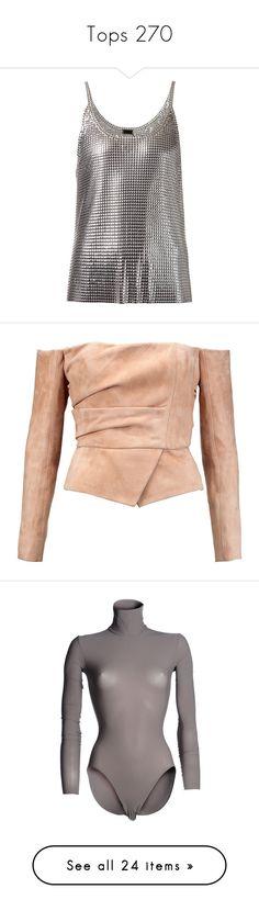 """Tops 270"" by katiemarilexa ❤ liked on Polyvore featuring tops, shirts, metallic, tanks, metallic tank, paco rabanne, shirt top, metallic shirt, metallic top and blouses"