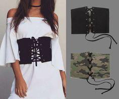 Black Party Lace-up Zipper Back Waist Belt
