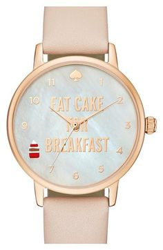 kate spade new york 'metro - eat cake' leather strap watch, 34mm available at #Nordstrom