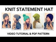 KNITTING TUTORIAL: STATEMENT HAT - YouTube