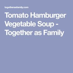 Tomato Hamburger Vegetable Soup - Together as Family