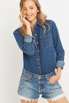 BDG Girlfriend Dark Blue Denim Button-Down Shirt