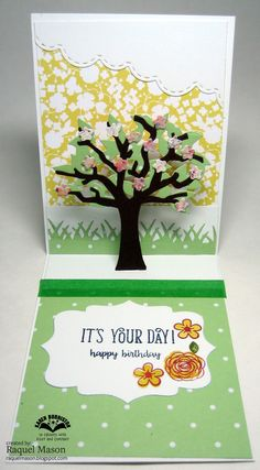 Feminine birthday card using Tree Pop Up.