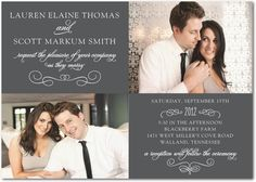 Signature White Wedding Invitations Swirled In Style - Front : Black