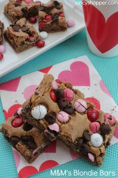 Valentine Blondie Bars with M&M's for Valentine's Day!