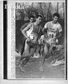 Trofeo Internazionale del Campaccio 1987. Legnano, 25 gennaio. Parata di stelle: da sin. Alberto Cova (1958), Francesco Panetta (1963) e Gelindo Bordin (1959)