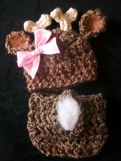 NEW...Sweet Baby Doe, Girl's Whitetail Deer Hat and Diaper Cover Set, Fur Tail,  Pink Satin Bow... Avail in Preemie, Newborn, Infant Sizes. $30.00, via Etsy.