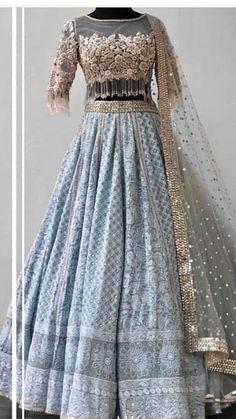 Indian wedding gowns Lehenga blouse designs Indian bridal outfits Indian wedding wear Indian wedding dress Lehenga blouse - Beautiful Chikankari LehengaCholi with beautiful hand embroidered blous - Party Wear Indian Dresses, Indian Wedding Gowns, Designer Party Wear Dresses, Indian Gowns Dresses, Indian Bridal Outfits, Indian Fashion Dresses, Dress Indian Style, Indian Designer Outfits, Bridal Dresses