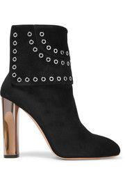 Eyelet-embellished suede ankle boots