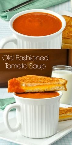 Homemade Tomato Soup - quick and easy to make, even using good quality canned tomatoes. Makes an ideal, warm, comfort food lunch accompanied by a perfectly crispy and gooey grilled cheese sandwich. Vegetarian Recipes, Cooking Recipes, Healthy Recipes, Healthy Soups, Simple Recipes, Cooking Tips, Oxtail Recipes, Pork Recipes, Salad Recipes