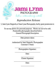 photography print release form - Google Search | Photography ...