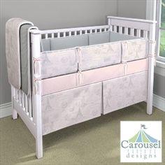 My Carousel Designs Custom Baby Bedding:  Pink and Grey Parisian theme
