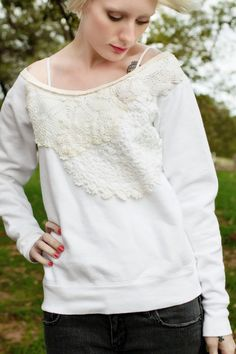 DIY lace sweatshirt
