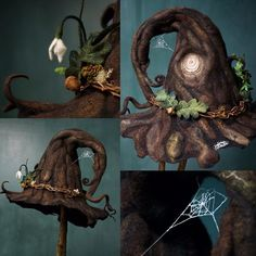 Some detail shots of the werifesteria witch hat #handmade #signsofspring #snowdrop #bark #hat #witch #witchhat #felt #merino #sculptedwithwool #lalabugdesigns