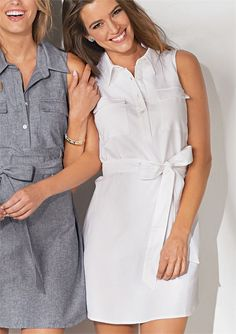 "Sleeveless cotton chambray collared shirtdress has double chest pocket and removable waist tie. Two mother of pearl shell buttons at placket.  Measures approximately 35"" from shoulder to hem on size small."