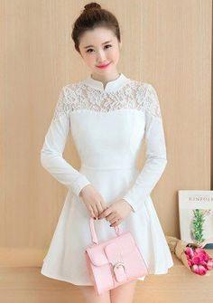 Buy Band Collar Lace Mesh Fit & Flare Dress | mysallyfashion.com Malaysia