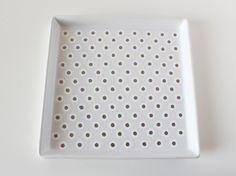 DIY: Gold + White Polka Dot Tray